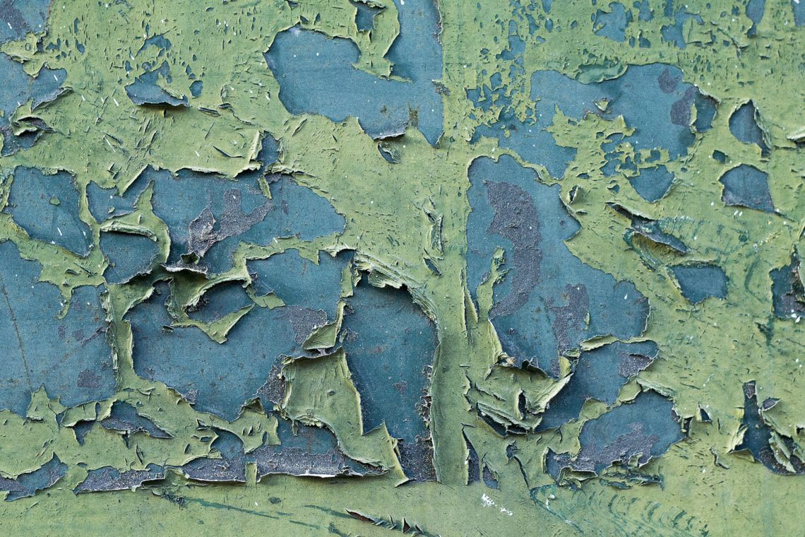 green and blue old wall