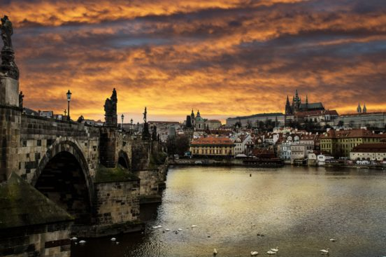 Charles Bridge, Vltava river and Prague Castle