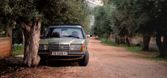 Albanian Mercedes on a dusty dirt road