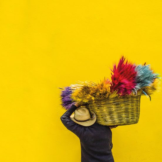 indigenous man wearing a cowboy hat carries a basket full of colourful feathers in front of a yellow wall