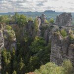daytime view of the Bastei Bridge in the Elbe Sandstone Mountains