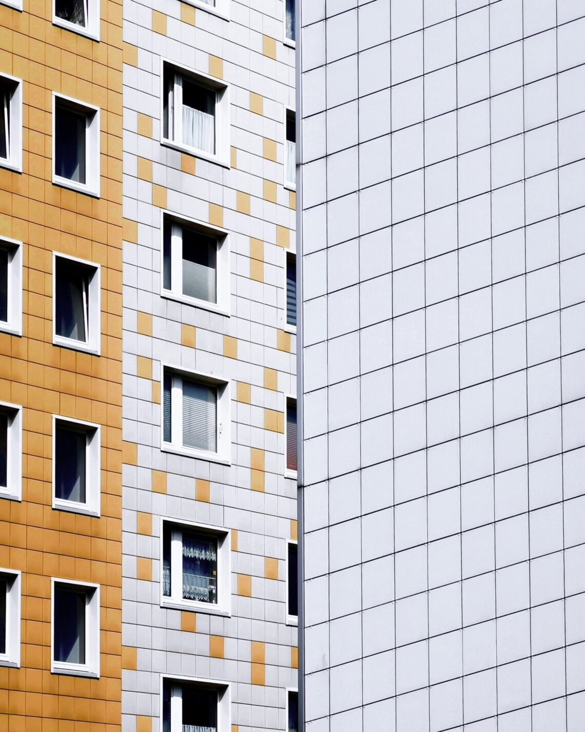renovated yellow & white prefabricated block construction in the East of Berlin